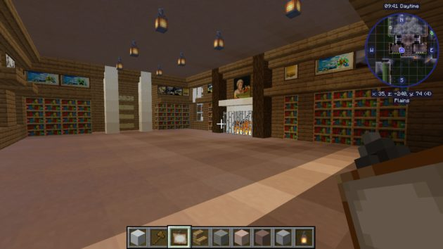 The project to create a Minecraft version of campus includes spaces like Rush Rhees Library's Welles-Brown Room. Build by Sean Lee, Virtual UR team.