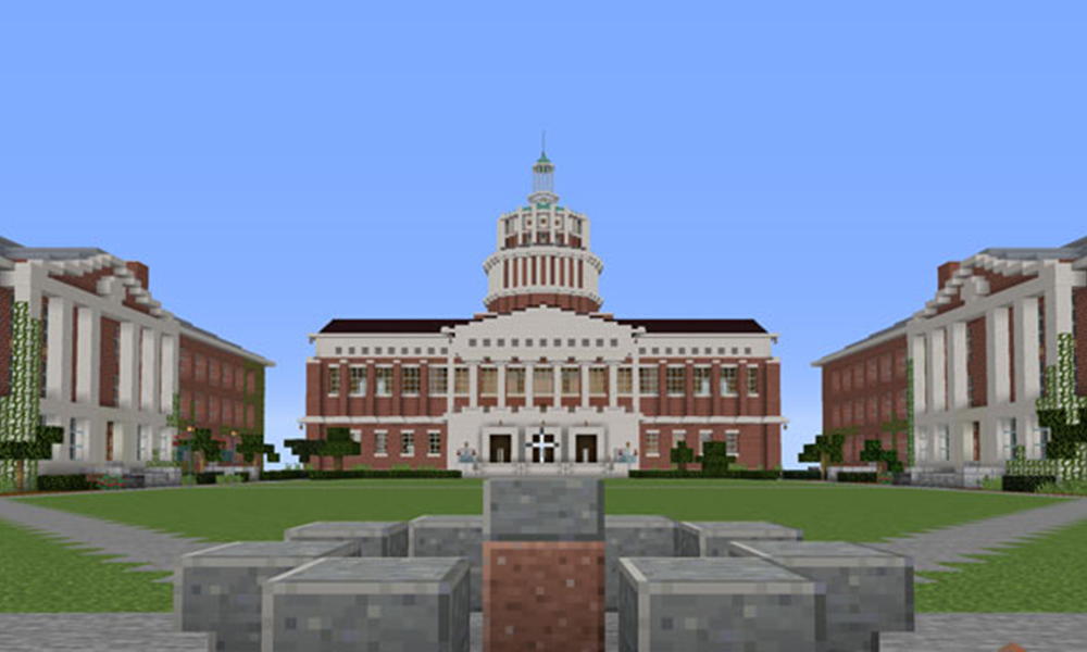 Virtual UR progress, combining the Minecraft builds of Alexander, Kyhl, and Sean into the new Virtual UR Eastman Quad