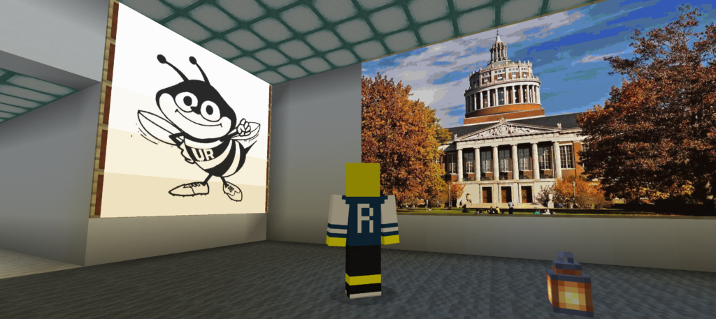 An image of Rocky on the wall with a virtual tour guide facing it.